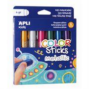 Obrazek Metaliczne farby w kredce 6 kolorów APLI KIDS